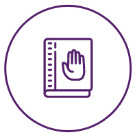 Picture of a handbook icon with a raised hand implying 'NO' on it