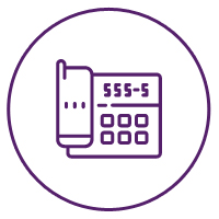 Picture of an office phone icon with a number on it