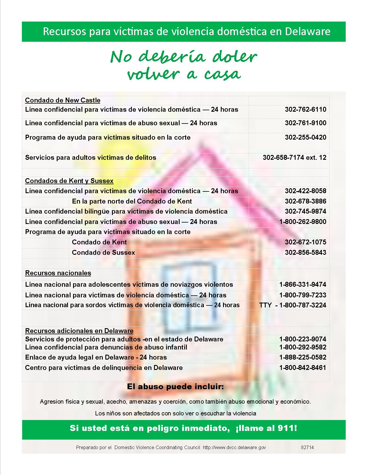 Picture of the DVCC Outreach Poster in Spanish